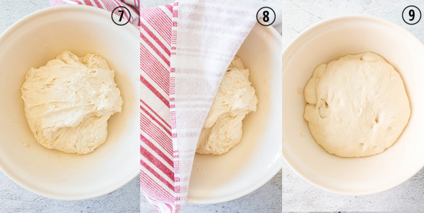 stretched dough in bowl and covered by towel