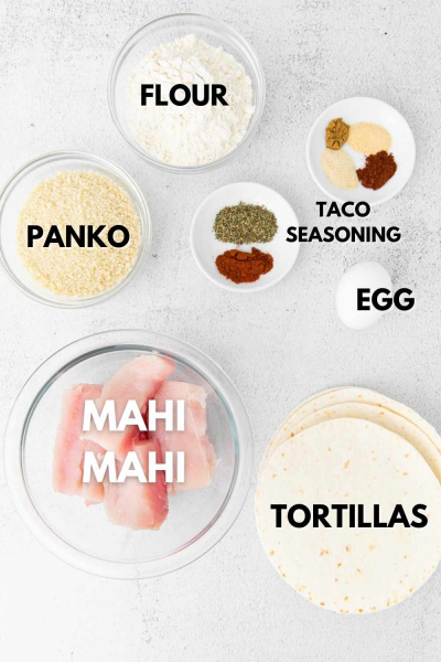 ingredients shown for air fryer fish tacos