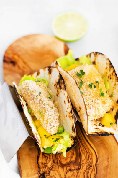 air fryer fish tacos on serving board
