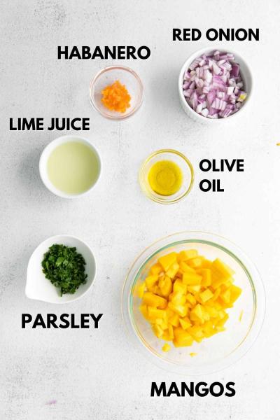 ingredients for mango habanero salsa