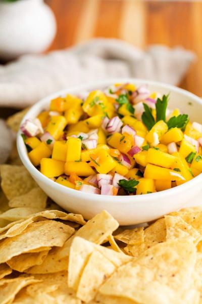 closeup of bowl with mango habanero salsa