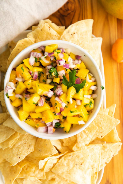 bowl of mango habanero salsa with chips