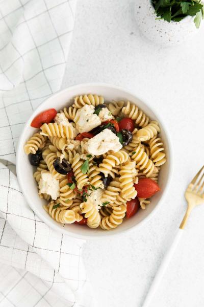 bowl of greek style pasta salad