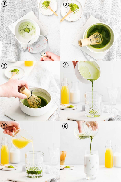 step by step photos for how to make pineapple matcha drink