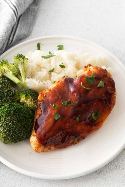 air fryer bbq chicken on plate