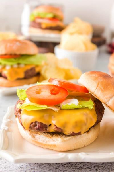 smoked hamburger with toppings