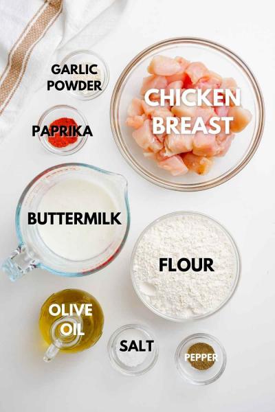 ingredients shown for air fryer popcorn chicken
