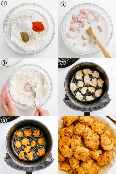 how to make popcorn chicken process shots