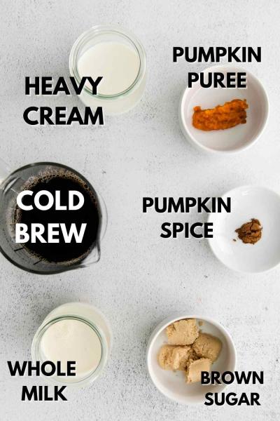 ingredients for pumpkin cold brew