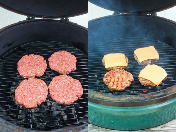 smoked burger patties on big green egg smoker