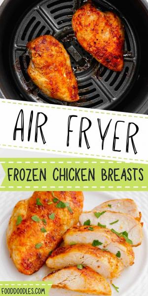 air fryer frozen chicken breasts pin 1