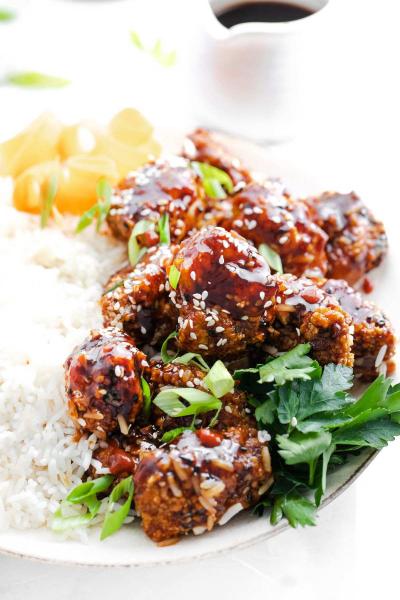 air fryer teriyaki chicken on top of rice