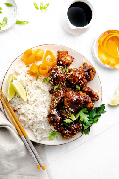 large plate of air fryer teriyaki chicken with rice