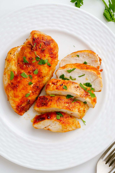 plate of air fryer frozen chicken breast